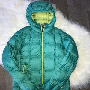 Eddie Bauer Ascent Down Petite Small Teal Jacket